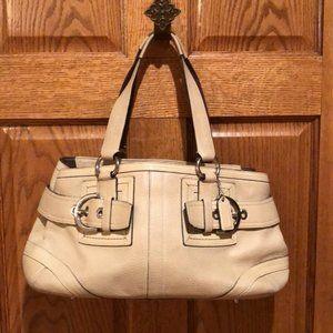 Coach Hampton beige leather satchel #m05s-2764